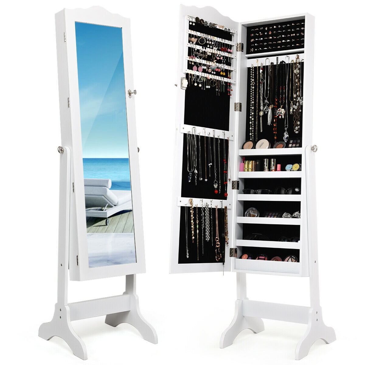costway lockable mirrored jewelry cabinet armoire mirror organizer storage box w stand