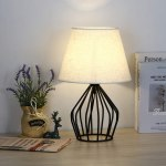 Farmhouse Lamp Mid Century Modern Table Lamp Black Metal Hollow Out Base Small Nightstand Lamp With Fabric Lampshade For Bedside Table Bedroom Living Room Office Walmart Com Walmart Com