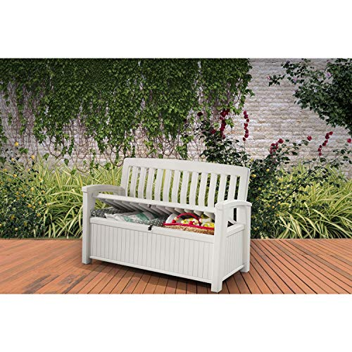 keter 60 gallon storage bench chair deck box for outdoor patio and garden ivory
