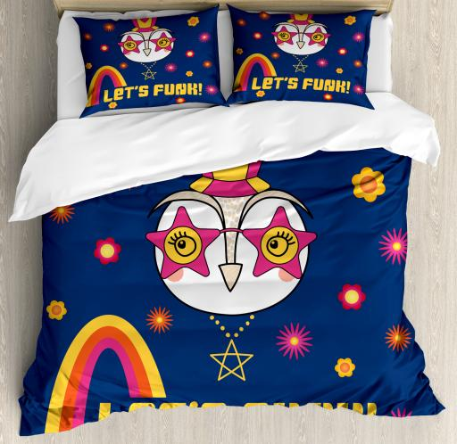 Funny Words King Size Duvet Cover Set Cartoon Owl In A