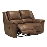 Ashley Niarobi Faux Leather Reclining Loveseat in Gray