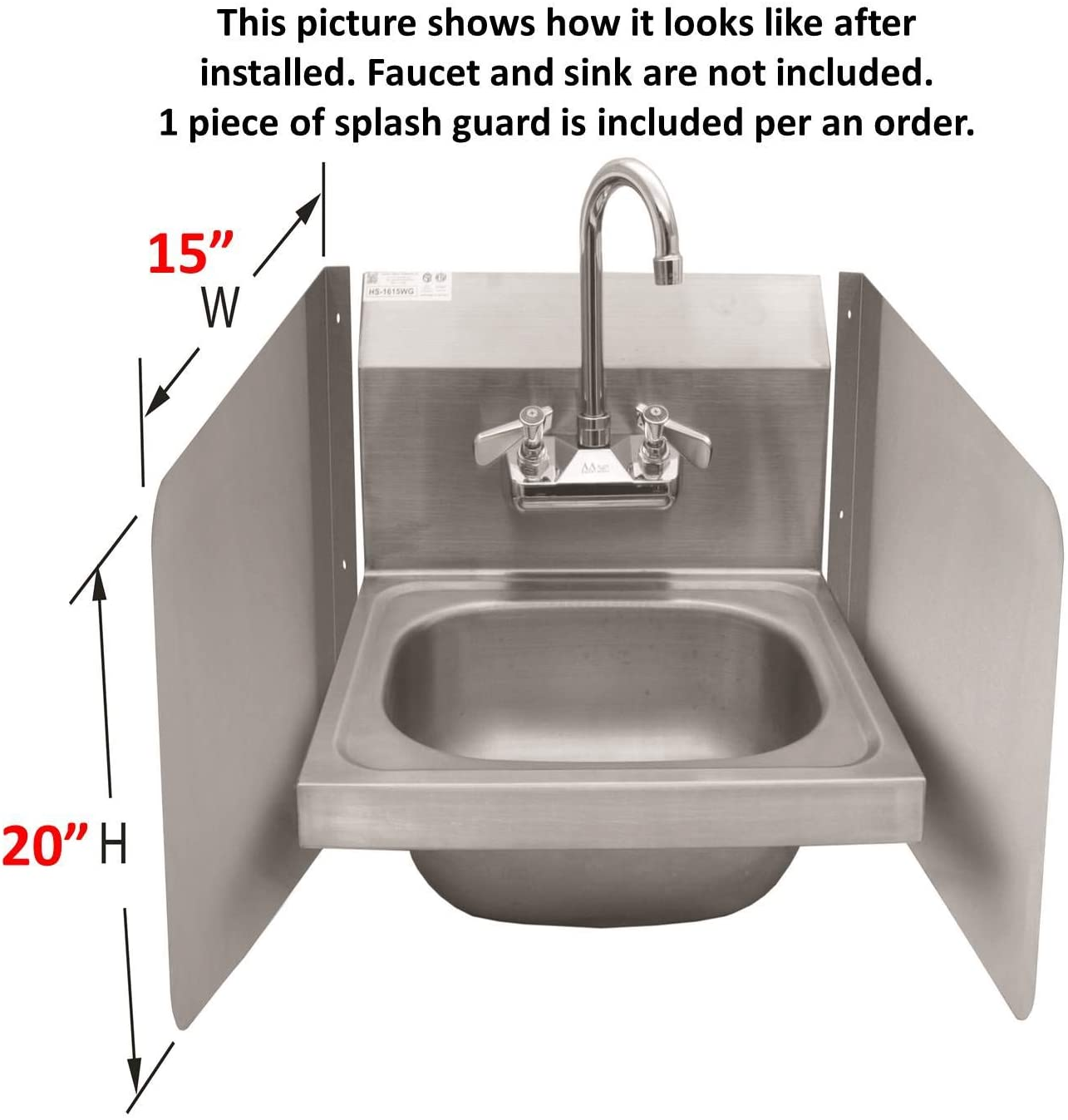 ace sp s1520 wall mount splash guard for commercial restaurant hand sink and compartment prep sink nsf 15 w x 20 h stainless steel