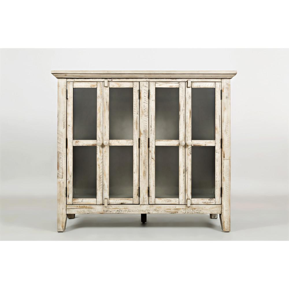 Distressed Wooden Accent Cabinet With 4 Glass Doors Off