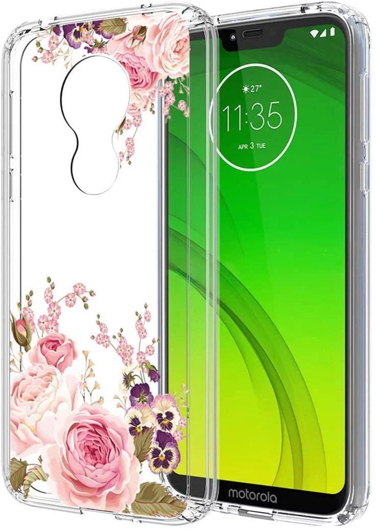 Moto G7 Play Case Walmart : walmart, Case,, Phone, Flowers,, Ueokeird, Shockproof, Clear, Floral, Pattern, Flexible, Walmart, Canada