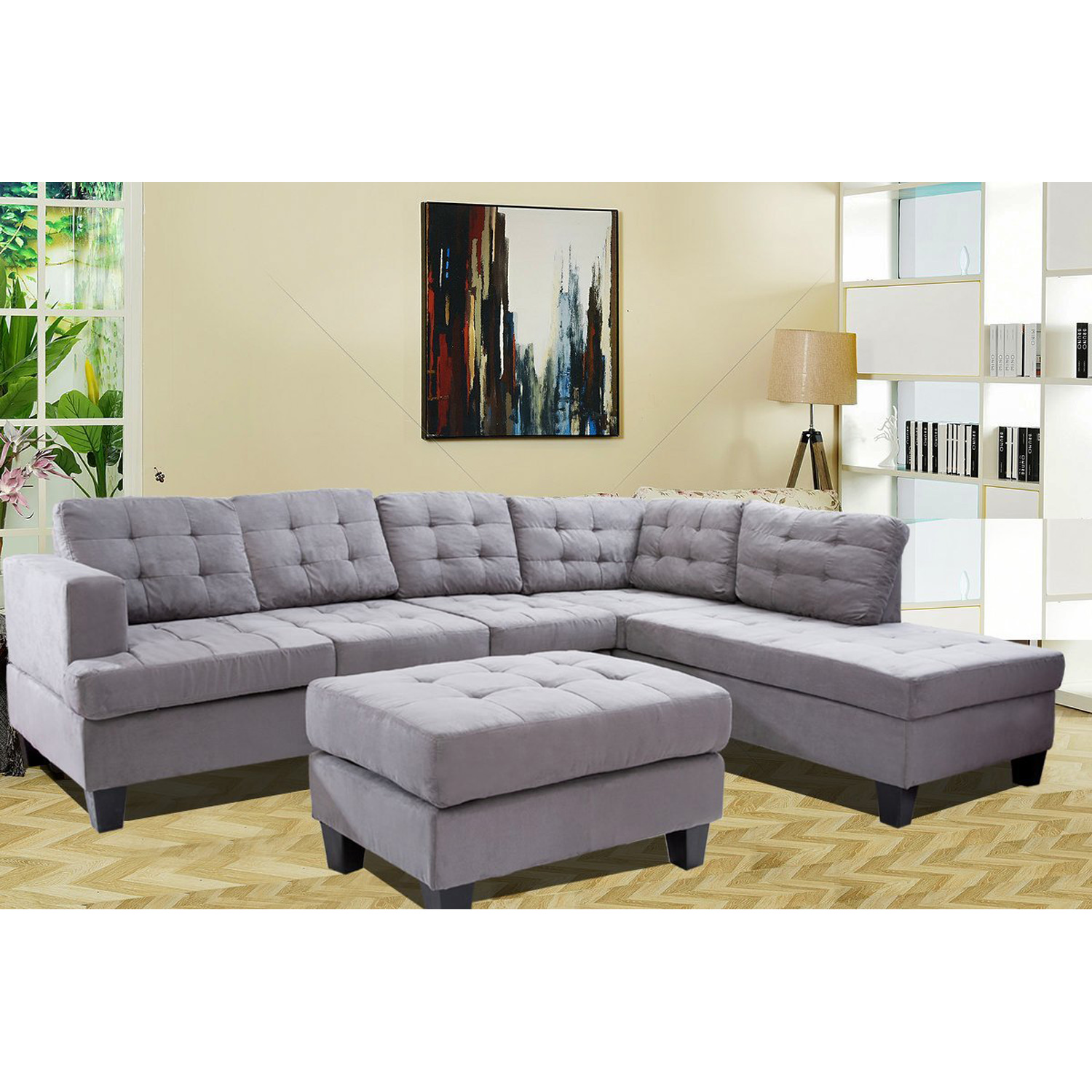 gray sofa with chaise lounge clearance toronto merax 3 piece sectional and ottoman grey walmart com