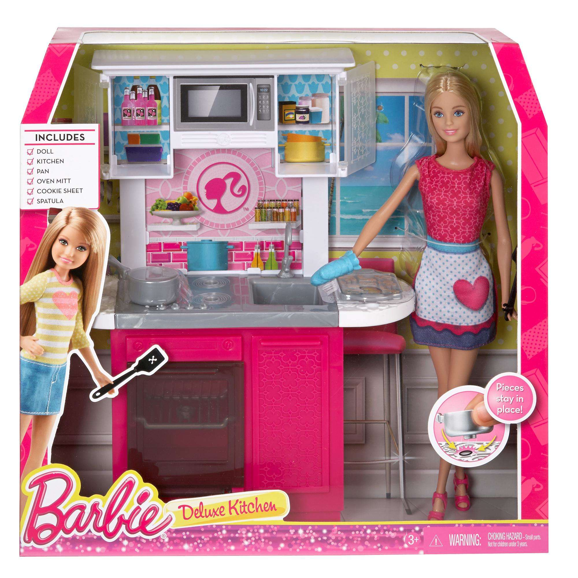 barbie kitchen playset remoldeling deluxe and doll walmart com