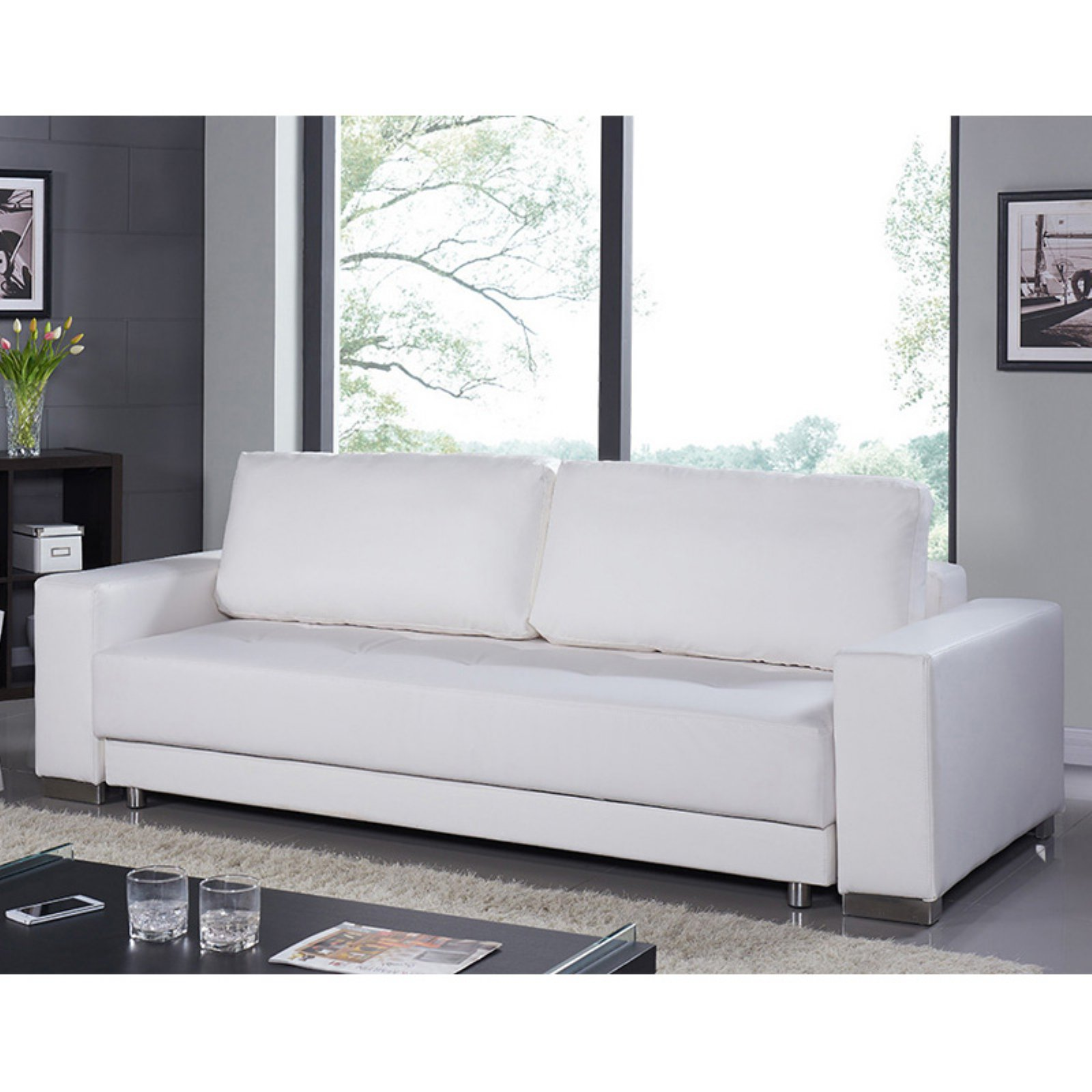 bianca futon sofa bed review good brand names casabianca furniture cloe collection white eco leather