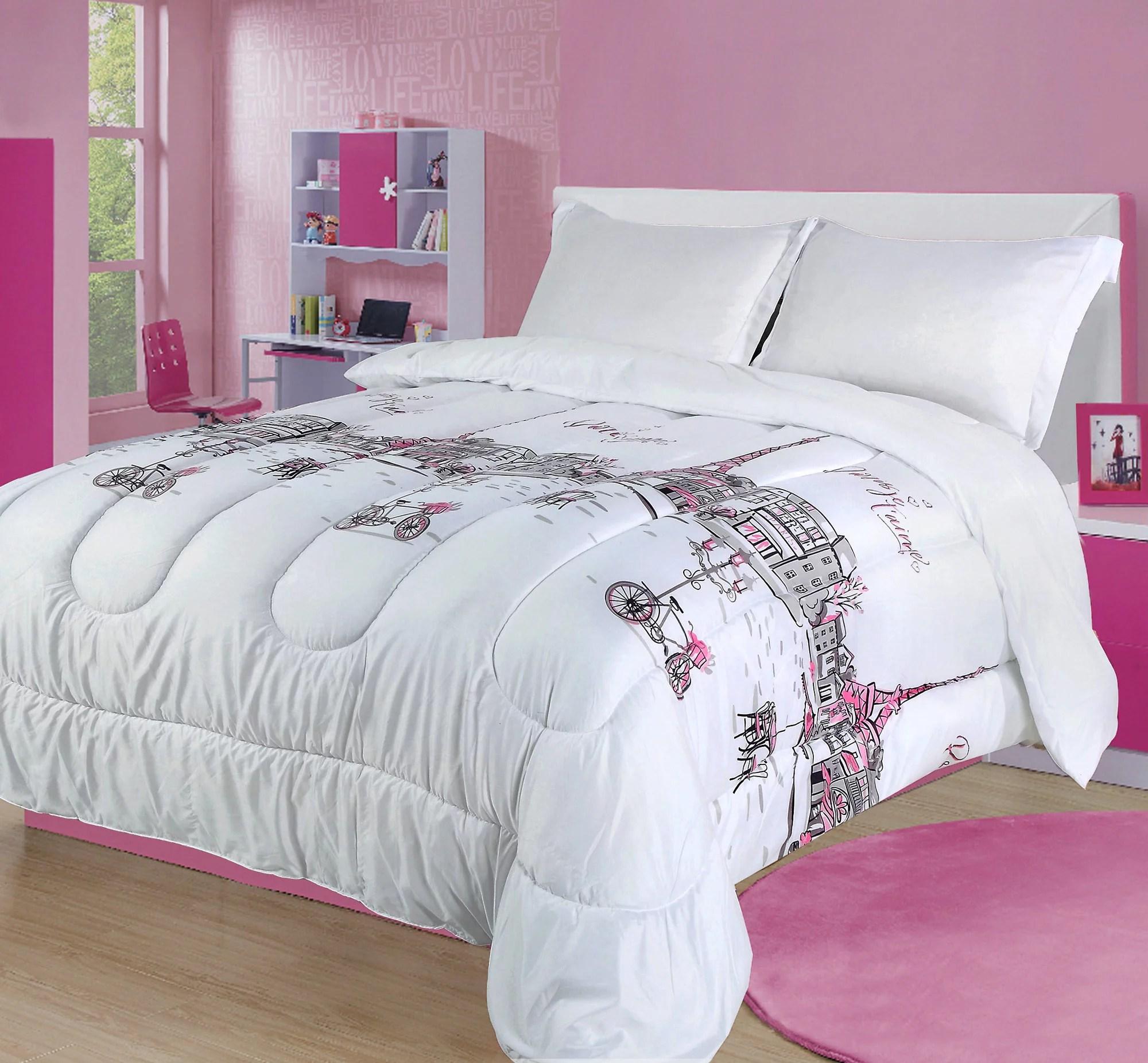 full queen paris comforter bedding set france pink white grey eiffel tower