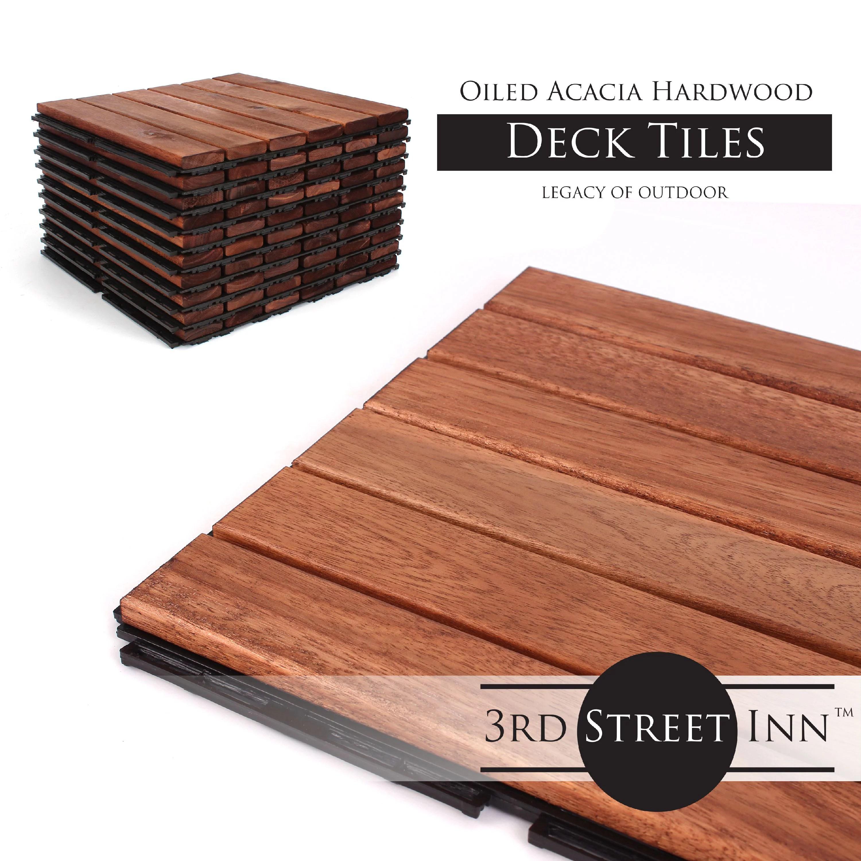 deck tiles patio pavers acacia wood outdoor flooring interlocking patio tiles 12 x12 10 pack oiled acacia finish straight pattern