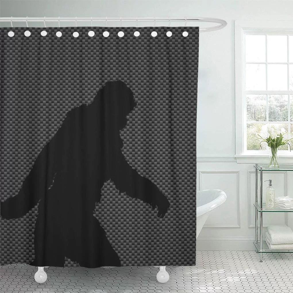 cynlon bigfoot sasquatch silhouette on carbon fiber squatchin gone squatching bathroom decor bath shower curtain 66x72 inch