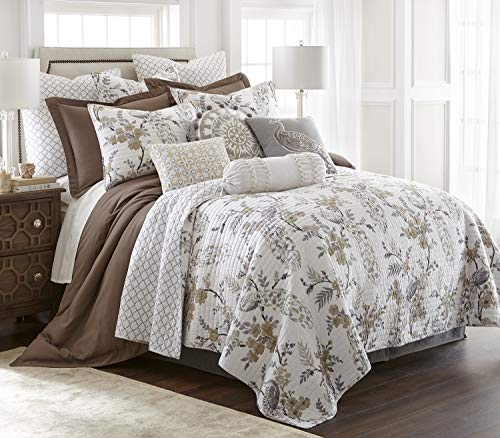 levtex home pisa quilt set full queen quilt two standard pillow shams floral contemporary peacock grey and taupe quilt size 88x92in and