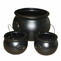 Set of 3 Cauldrons Halloween Decoration