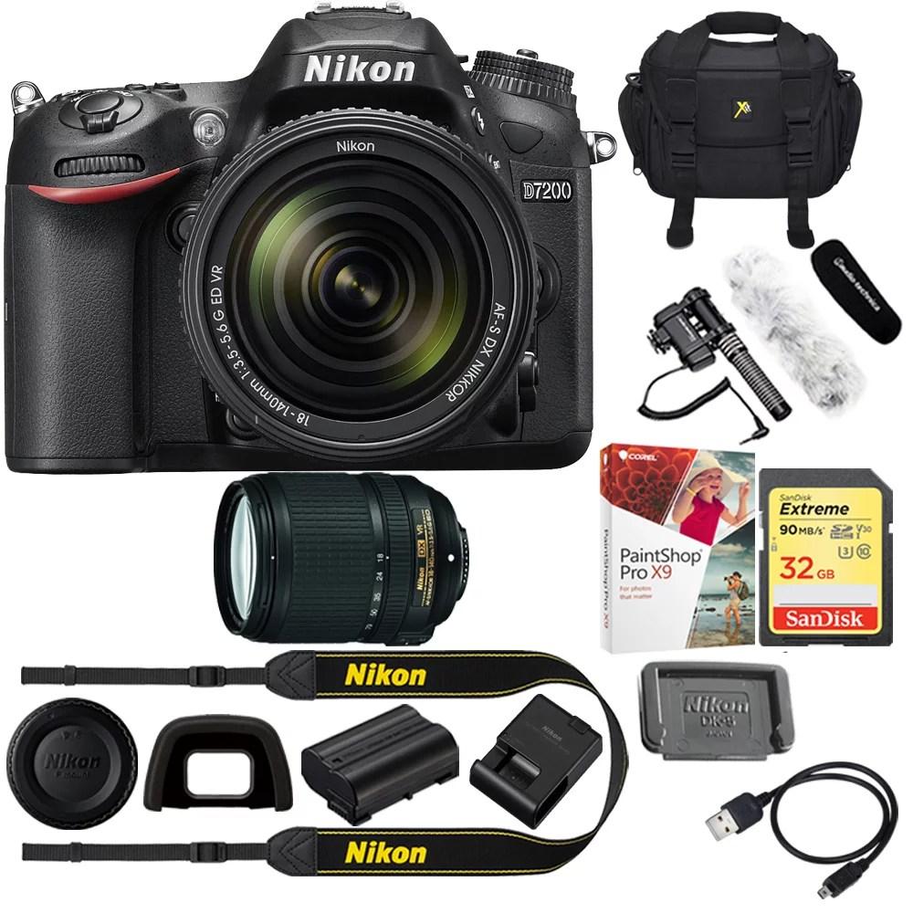 Nikon D7200 DX-format Black DSLR Camera Kit + 18-140mm VR Lens Bundle Includes Stereo/Mono Camera Mount Microphone. 32GB Memory Card. Corel Paint ...