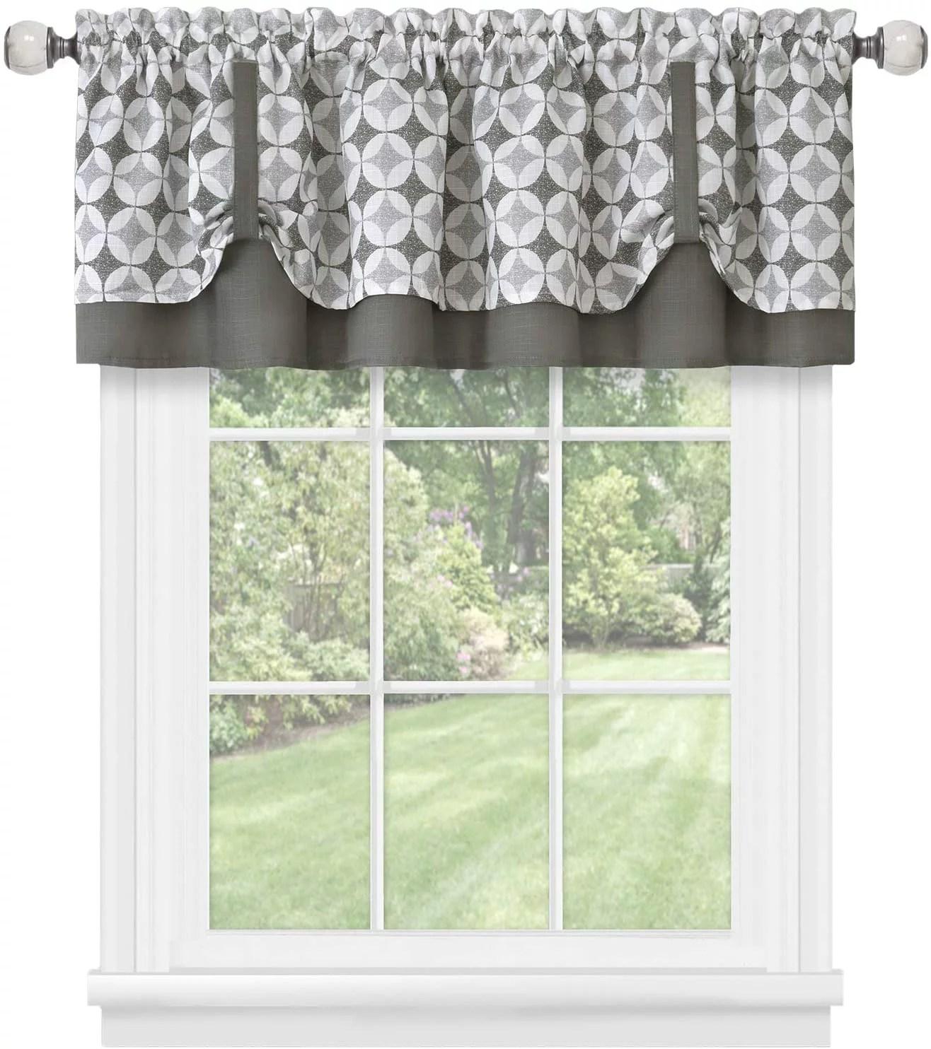 window curtain valance double layer geometric design with plaid gingham circles cuff tab top valance farmhouse decor 58 w x 14 l