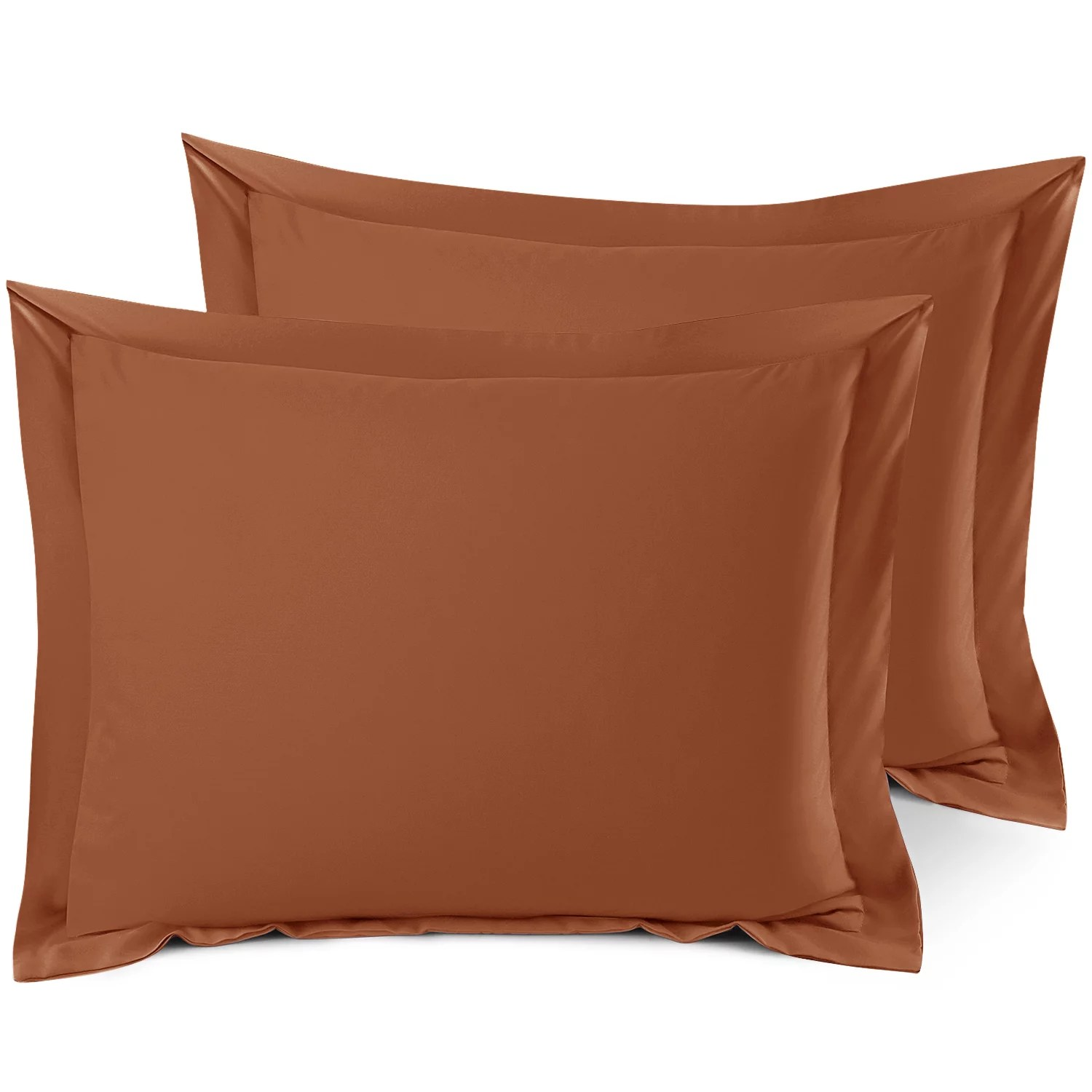 set of 2 standard 20 x26 size pillow shams rust orange hotel luxury soft double brushed microfiber hypoallergenic bed pillow cases cover