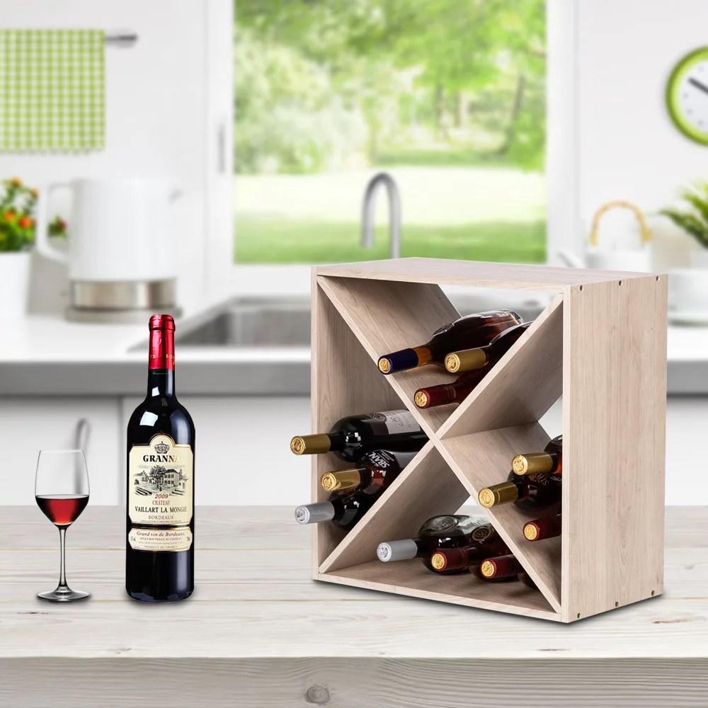 veryke 4 cube wine rack solid wood wine racks for counters tabletop holder cube 12 16 bottles stackable wine bottle storage rack