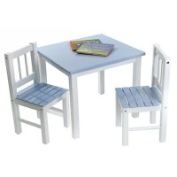 Lipper Kids Small Blue and White Table and Chair Set ...