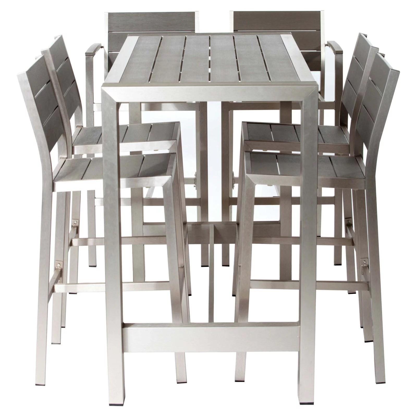 pangea outdoor betty aluminum 7 piece rectangular bar height patio dining set