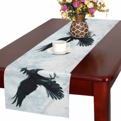 YUSDECOR Gothic Medieval Black raven Bird in Moonlight Table Runner Home Decor for Kitchen Dining Wedding Party 16x72 Inch Walmart Canada