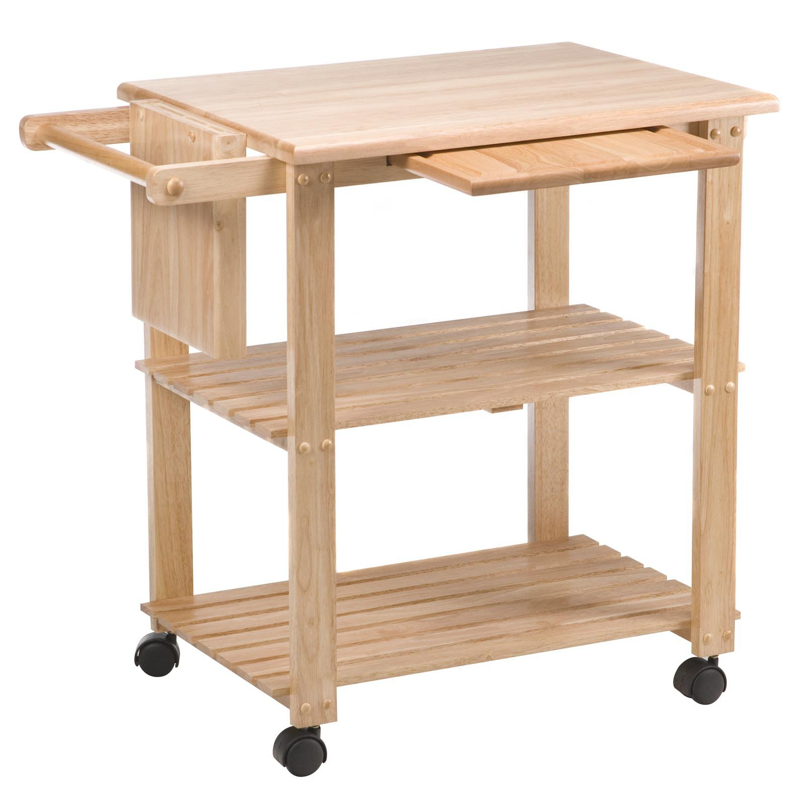kitchen cart on wheels navy blue rugs utility rack shelves durable storage heavy duty wood sliding tray