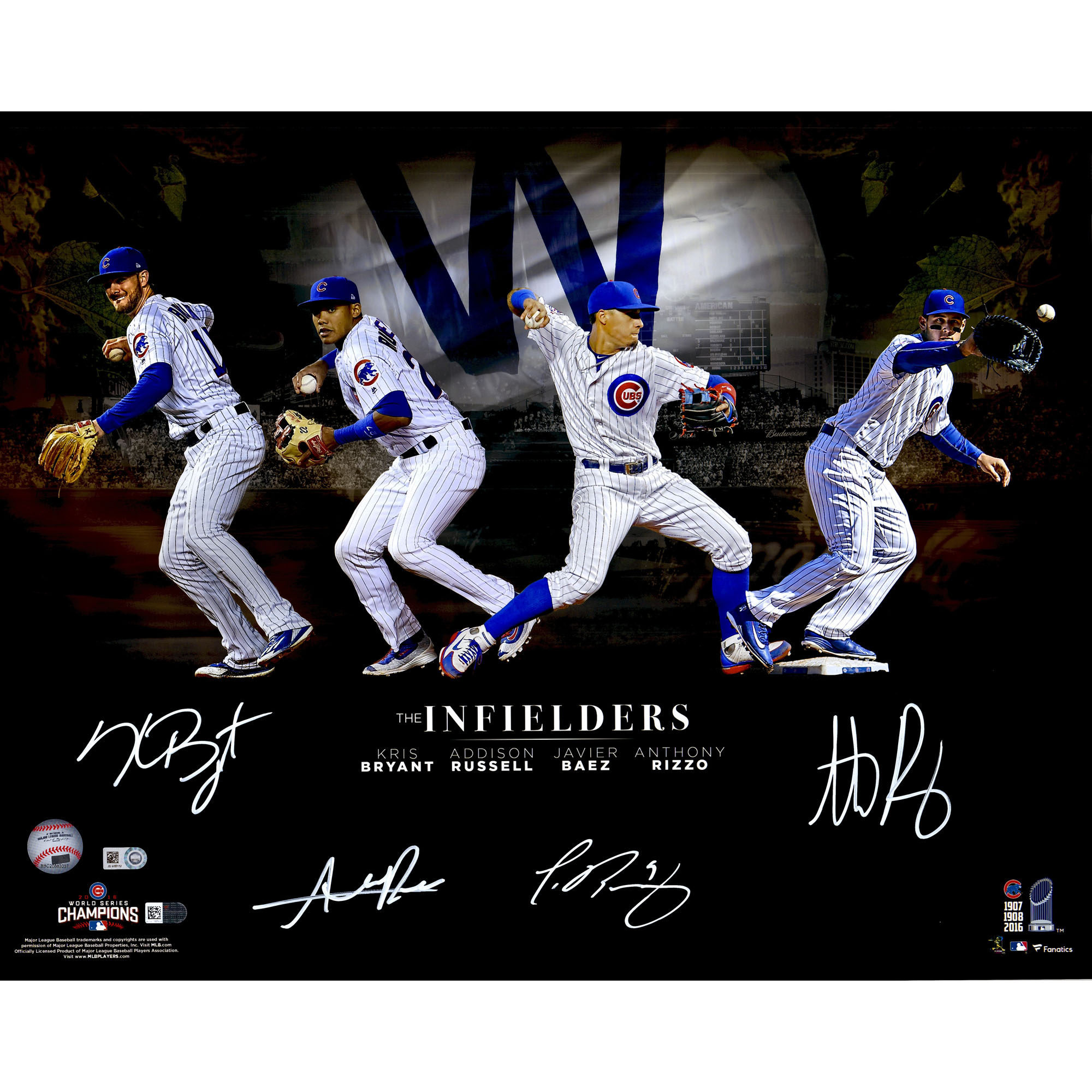 kris bryant anthony rizzo javier baez addison russell chicago cubs fanatics authentic 2016 mlb world series champions autographed 16 x 20