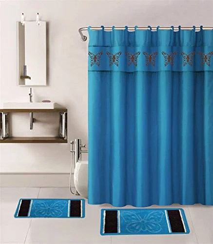 15 piece hotel bathroom sets 2 non slip bath mats rugs fabric shower curtain 12 hooks butterfly turquoise