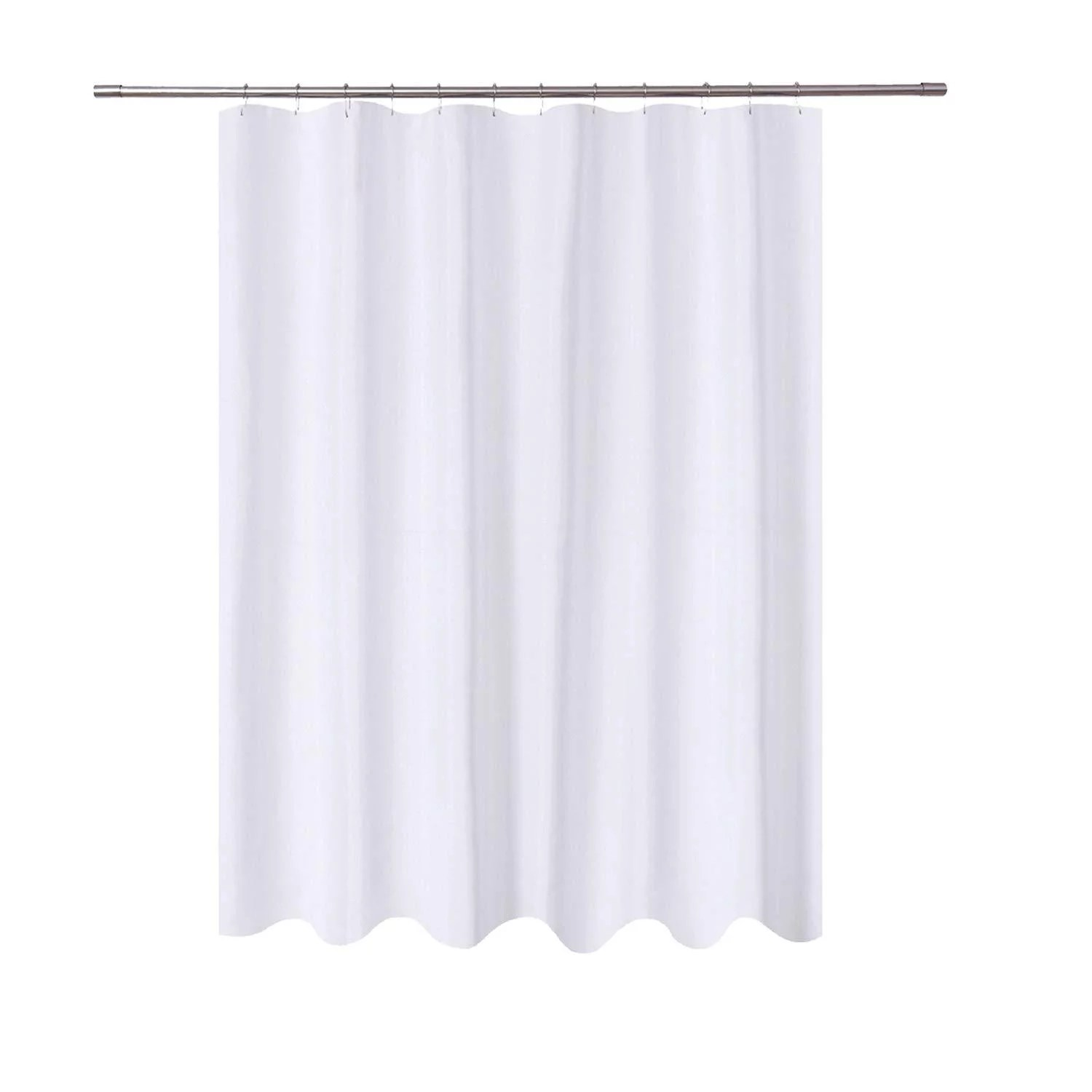 n y home long fabric shower curtain liner 72 x 78 inches longer length hotel quality washable water repellent white spa bathroom curtains with