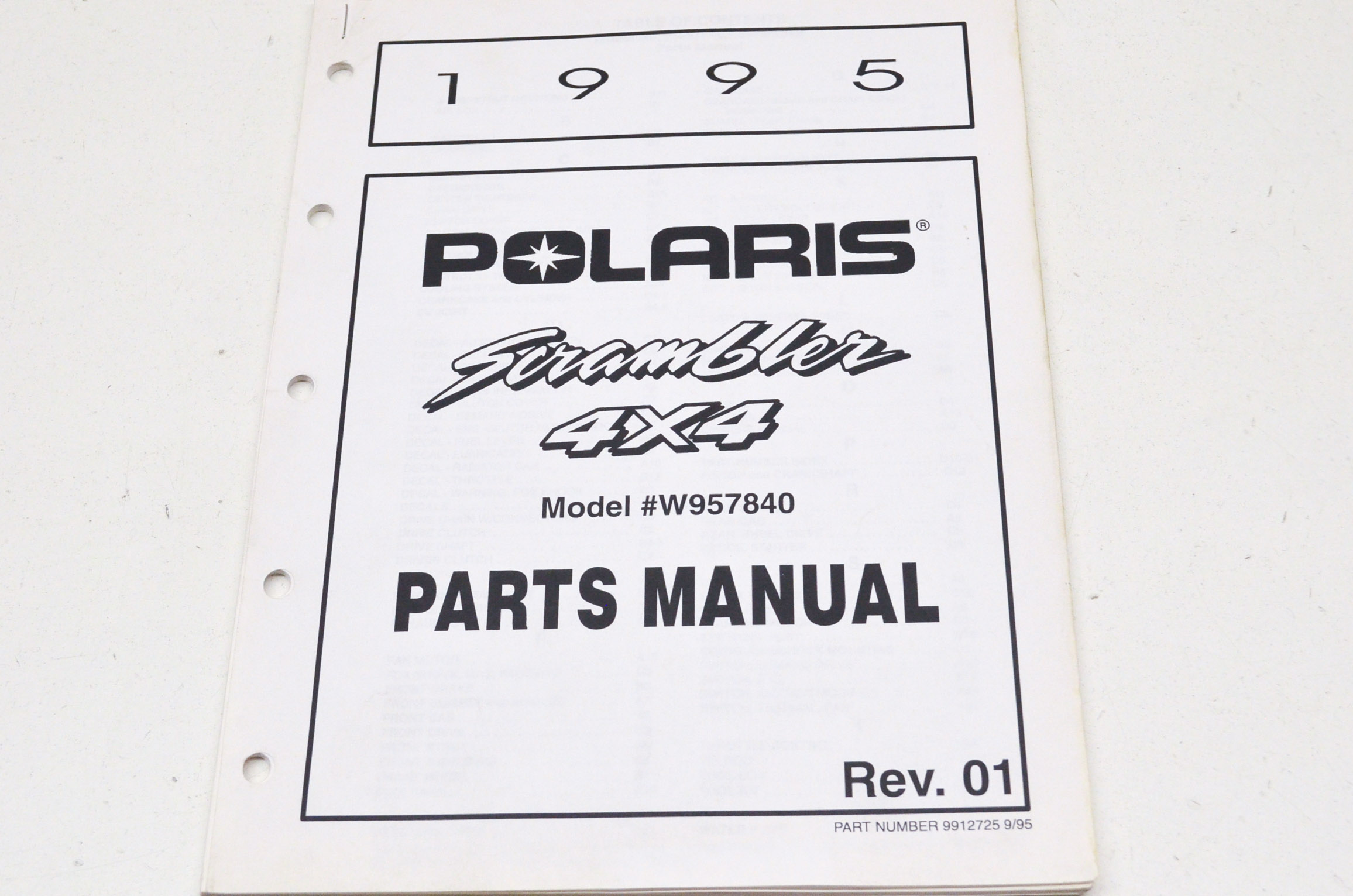 OEM Polaris 9912725 1995 Scrambler 4X4 Parts Manual NOS