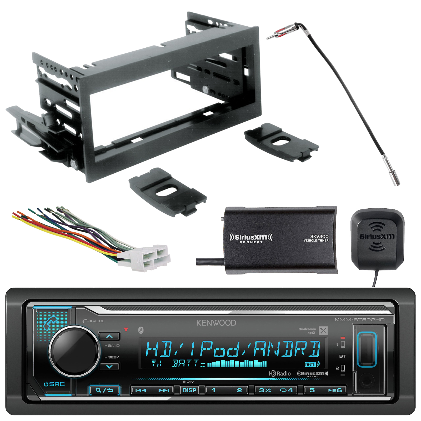 hight resolution of kenwood siriusxm ready in dash bluetooth hd radio scosche gm1483b dash kit gm02b radio wiring harness enrock antenna adapter sirius xm tuner fits 95 02