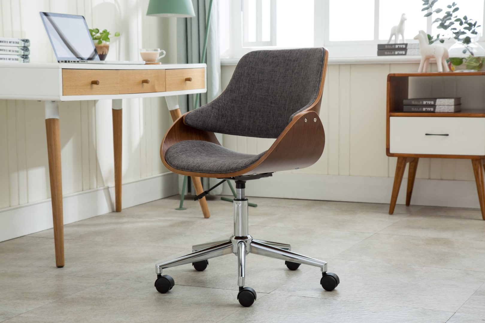 desk chairs on wheels flex lite chair porthos home adjustable height mid century modern office fabric and wood with caster easy assembly walmart com