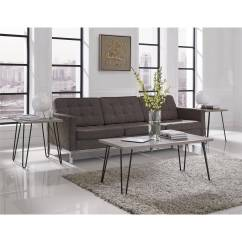 Retro Living Room Coffee Table Decorating Ideas With Dark Furniture Ameriwood Home Owen Distressed Gray Oak Gunmetal Walmart Com