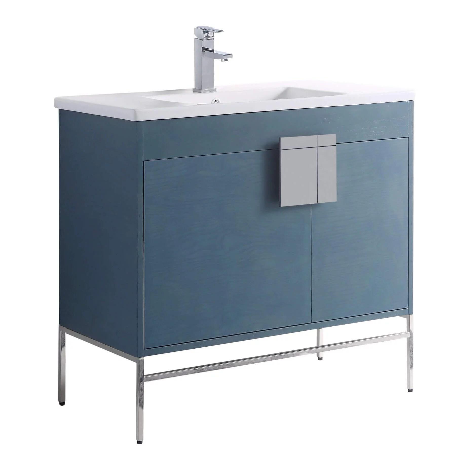 fine fixtures modern blue 36 bathroom vanity set chrome hardware vitreous china sink top walmart com