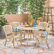 Pittman Outdoor 5 Piece Cast Aluminum Dining Set
