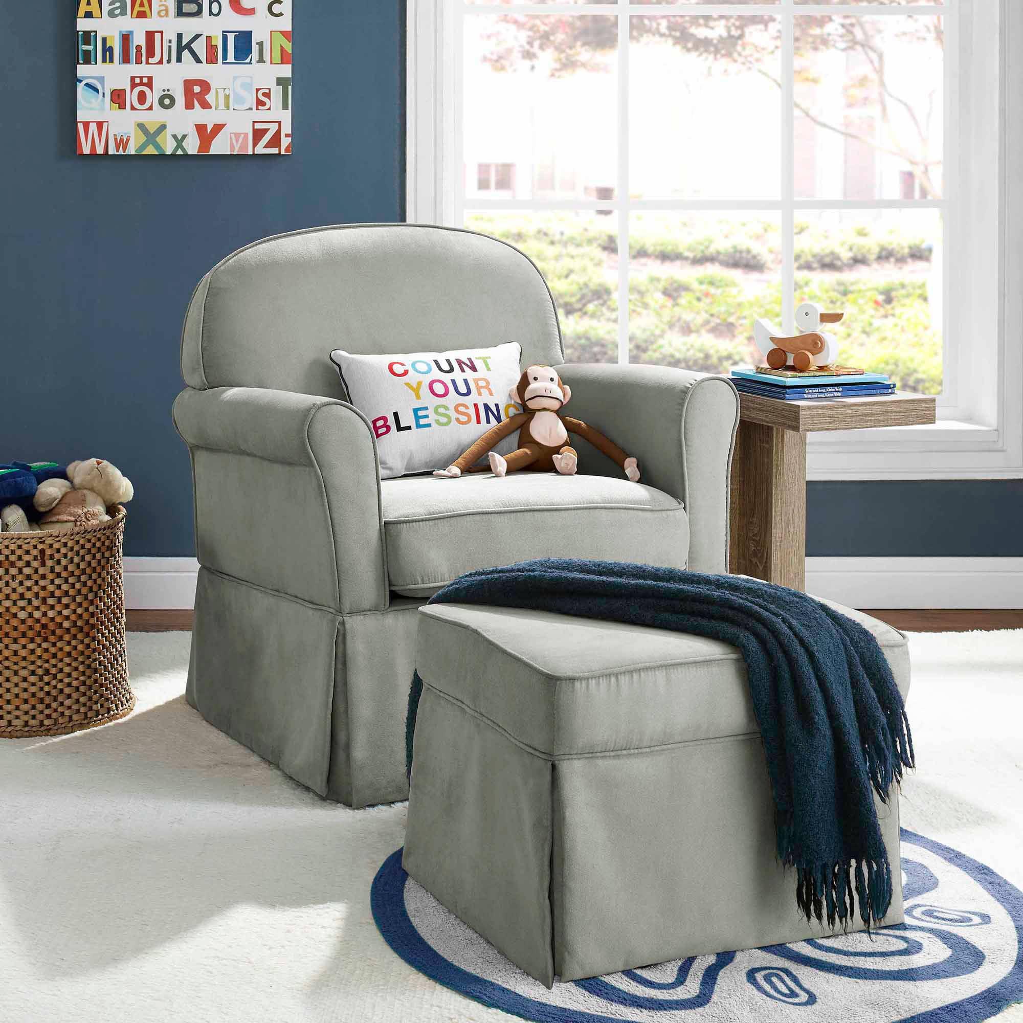 living room gliders ikea chairs baby relax evan swivel glider and ottoman gray walmart com