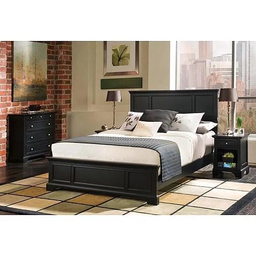 bedford 3 piece bedroom set queen headboard nightstand and chest ebony