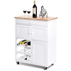 Rolling Island Kitchen Cost Islands Carts Walmart Com Product Image Gymax Modern Cart Trolley Storage Cabinet W Drawer Wine Rack