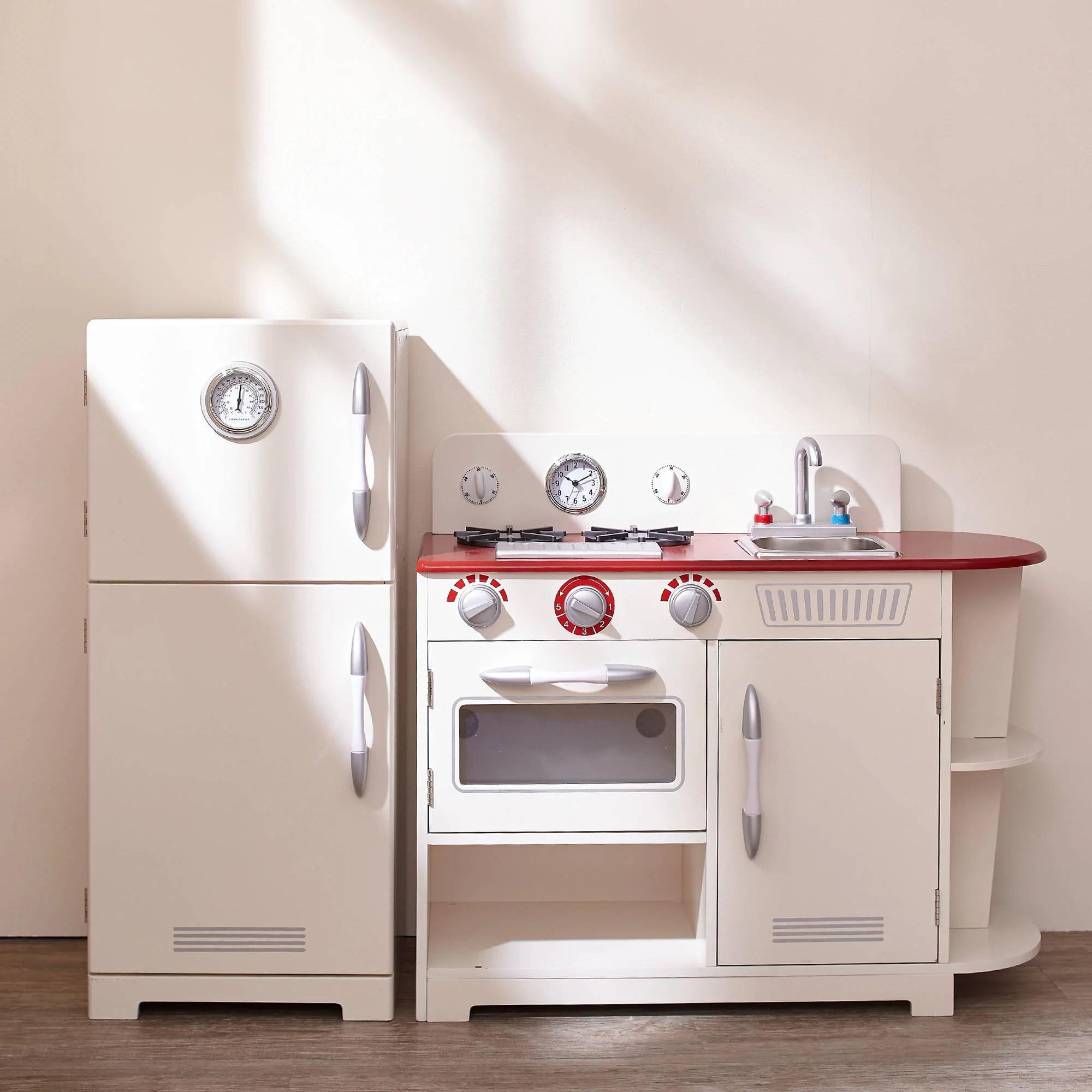 retro kids kitchen counter tops teamson little chef amsterdam play white walmart com