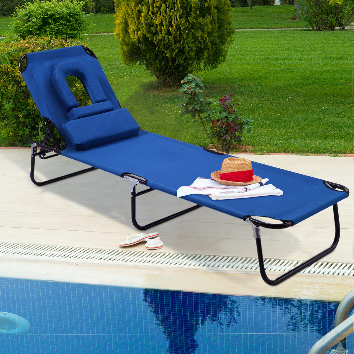 Sunbathing Chairs Costway Patio Foldable Chaise Lounge Chair Bed Outdoor Beach Camping Recliner Pool Yard