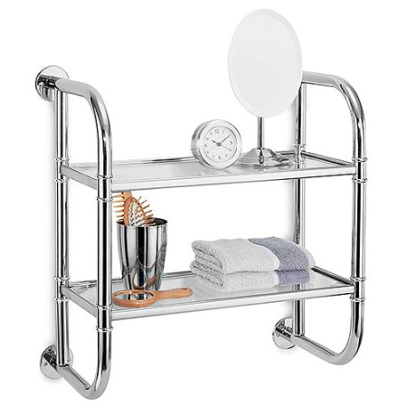 neu home 2 tier bath shelf, glass & chrome - walmart