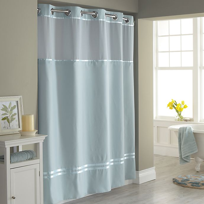 hookless escape 72 inch x 98 inch fabric shower curtain and liner set in seafoam blue walmart com