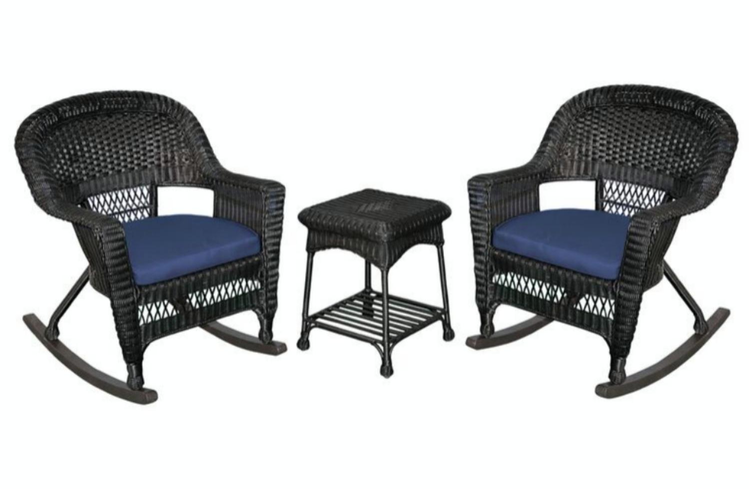 Black Wicker Rocking Chairs 3 Piece Ariel White Resin Wicker Patio Rocker Chairs And Table Furniture Set