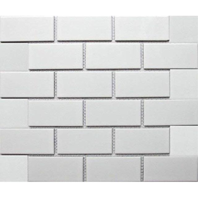 white tile ceramic subway brick gloss finish 2 x 4 box of 10 sqft wall tile backsplash tile bathroom tile on 12x12 mesh for easy installation