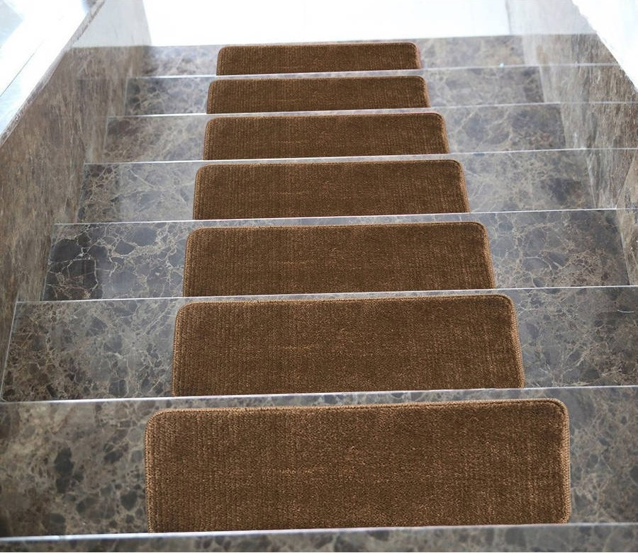 Ottomanson Softy Stair Treads Solid Skid Resistant Rubber Backing   Rubber Backed Carpet Stair Treads   Slip Resistant Rubber   Ultra Thin   Wood   Ottomanson   Beige