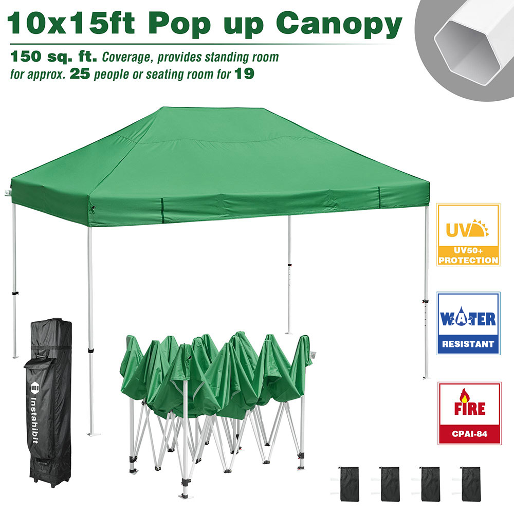 instahibit 10x10 ft easy pop up canopy tent business instant shelter vendor tent outdoor market with roller bag