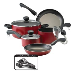 Kitchen Pans Cart With Butcher Block Top Farberware Easy Clean Dishwasher Safe Aluminum Nonstick 12 Piece Cookware Set Walmart Com