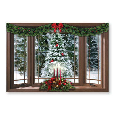 frosted pine christmas window wall decal walmart