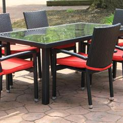 Best Outdoor Dining Chairs Swivel Sling Patio 7 Piece Black Resin Wicker Furniture Set Red Cushions Walmart Com