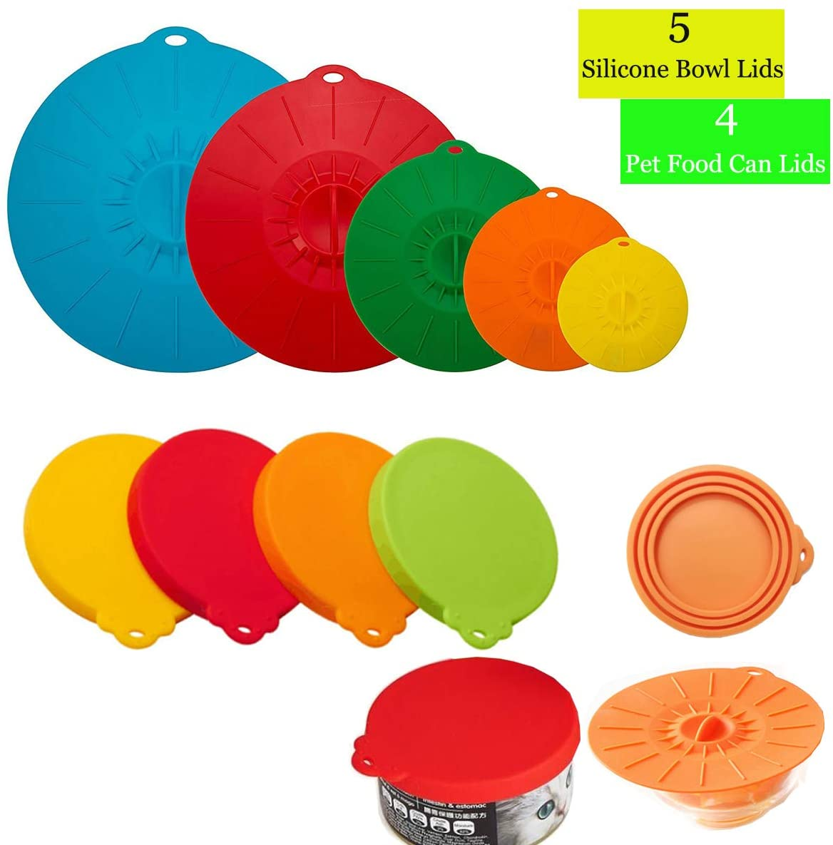 5 silicone food covers heat resistant microwave cover pan plate mugs pot bowls lids with 4pcs silicone pets dogs cats food can tops covers cup dishes