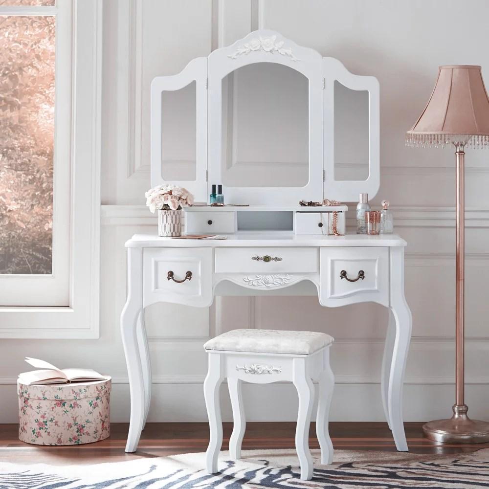 zimtown tri folding white vanity makeup dressing table set w stool 5 drawer mirror wood desk white walmart com