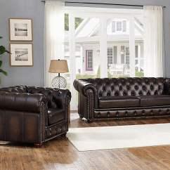 Albany Leather Sofa Flexsteel Sleeper Brown Genuine Armchair Set 2pcs Hand Rubbed Amax Walmart Com
